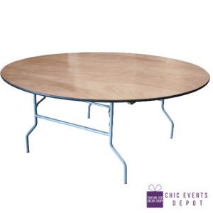 60u2033 Round Commercial Plywood Folding Table